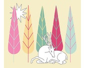 "10"" x 8"" Drawing Art Illustration Print Stylised White Deer Trees Christmas Folk Art Narrative"
