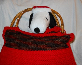 Hand crocheted purse with bamboo handles