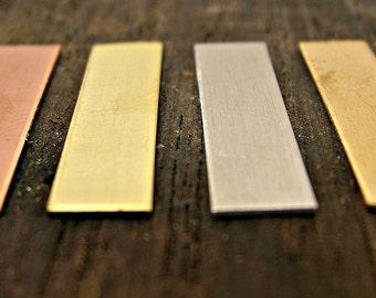 "1/4"" x 1"" Rectangle Tag - Rectangle Pendant - Jewelry Supplies - Copper - Bronze - Aluminum Tag - Bar Necklace - Bar Bracelet - Metal Blanks"