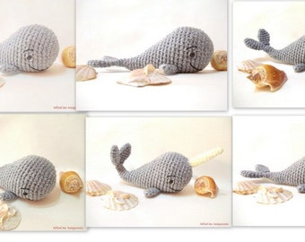 Amigurumi Whale Pattern - Crochet Whale Pdf Tutorial, Narwhal Parttern
