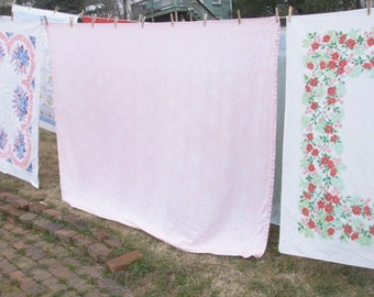 Vintage Tablecloth Roses Peach White Damask Cotton