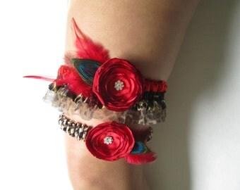 VALENTINE Red Wedding Garter Set, Leopard Garters, Red Prom Garters, Peacock Garter, Pinup Girl / Bettie Page Wedding,