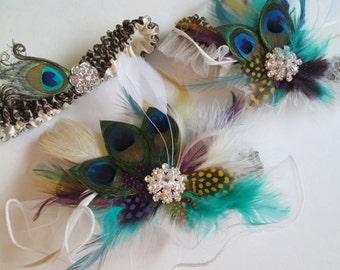 Peacock Wedding Garters- 3 pc Set, IVORY Wedding Garter Set, Leopard Garters, Masquerade Ball Wedding, Great Gatsby, Alternative Bride
