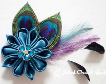 Peacock Hair Clip Wedding Fascinator, Teal Kanzashi Bridal Hair Clip, French Veil, Head Piece, Teal Oasis Bridal Flower w/ Birdcage Veil