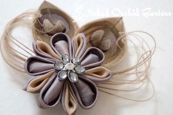Champagne Clip, BIRDCAGE Veil, Kanzashi Wedding Hair Flower Clip, Taupe, Latte, Mocha, Platinum Wedding, RUSTIC Hair Piece,  Head Piece