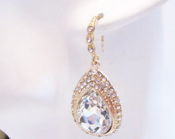 Gold Tone with Loads of Rhinestone  Wedding Earring Drops Pageant Jewelry