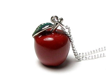 Snow White Fairy Tale Once Upon A Time Poison Red Apple Evil Queen Silver Pendant Charm Necklace Swarovski Crystal, Unique Gift For Teacher