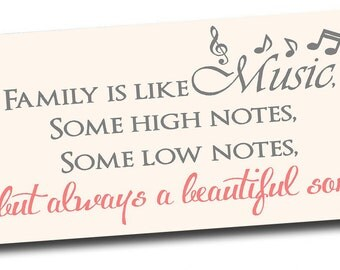 Framed canvas art Family is like music inpirational signs quotes lettering wall art signs plaque