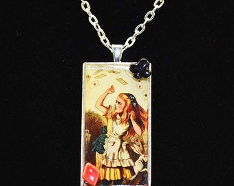 Alice in Wonderland Resin Pendant - Alice and Playing Cards