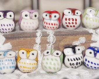 Promotion season-10 mix colours-10 pcs adorable  little eye owl beads