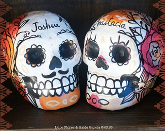 Custom Paper Mache Skulls Day of the dead decoration cake toppers