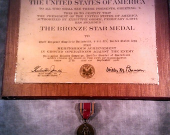 Vintage Bronze Star Medal Certificate with Bronze Freedom Medal