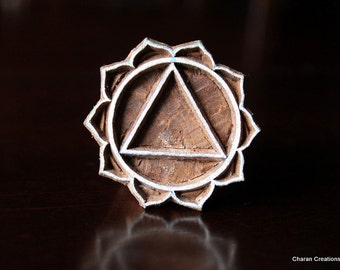 Hand Carved Indian Wood Textile Stamp Block-Solar Plexus