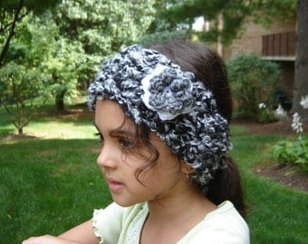 Black - White Fuzzy  Crochet Headwrap / Headband / Earwarmer READY TO SHIP New Item