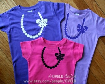 Necklace with Pearls T shirt for Girls Pick your Color this is for ONE T-shirt