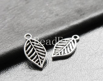 20pcs / Leaf / Oxidized Silver Tone / Base Metal / Charm (YA16226//E158)