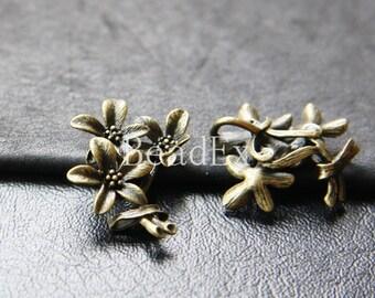 2pcs / Flower / Antique Brass Tone / Base Metal / Charm (Z7451//J160)