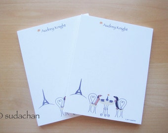 Personalized Notepads - Dachshunds in Paris Cafe (set of 2)