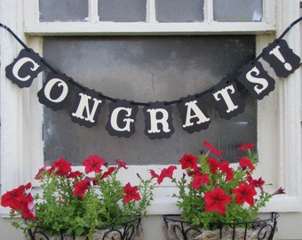 CONGRATS!  Banner for Weddings, Anniversaries, Graduations, and Parties