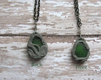 Green Sea Glass Octopus Necklace//Ocean Marine Clay Sea Glass Necklace//