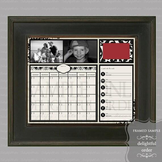 Digital Dry Erase Calendar  - 16x20 Red Damask Everyday Message Center (JPEG Digital File) - Instant Download - You Print - You Frame