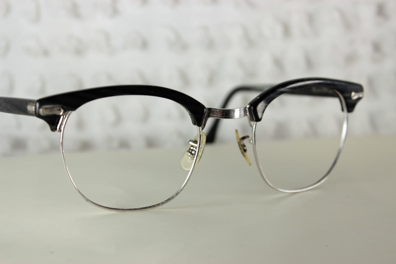 60s Mens Glasses 1960s Browline Eyeglasses Black by ...