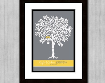 "SALE - Wedding Guest Book Signature Tree - Custom Love Birdies - 24"" x 36"" - Signature Only - Up to 300 guests"