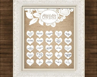 "Burlap and Lace - Wedding Guest Book  - Signature Hearts - Guest Book Art Print -11"" x 14"" - Up to 50-60 guests -  Printable File"
