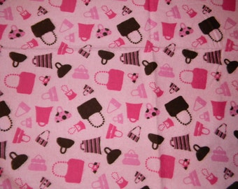 Pink and Brown Purse XL Receiving Blanket