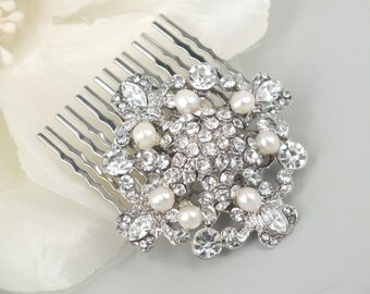 Fay-Vintage style Freshwater Pearl and Rhinestone Bridal Comb