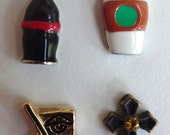 Memory Glass Locket Charms Living Locket Floating Charms Soda, Coffee, Chinese Food, Cross