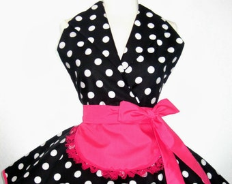 Retro Pin Up I Love Lucy Costume Apron with Black Polka Dots and Hot Pink