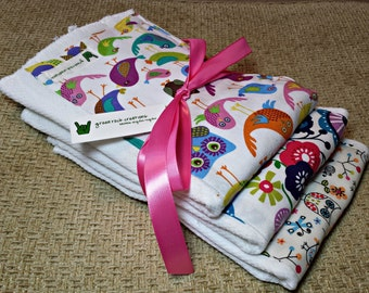 Baby girl burp cloths - colorful owls, birds, and flowers- bundle of 3