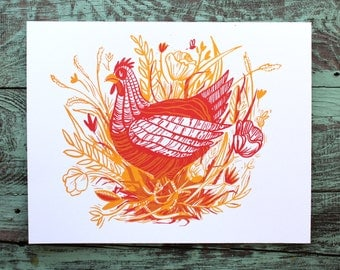 SALE Chicken Flowers in Field Screen Print Yellow and Red