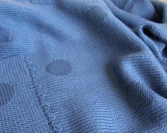 SALE Knit baby blanket-throw blanket-hand knitted baby blanket-blue blanket-baby boy blanket-stroller blanket-wool acrylic blanket
