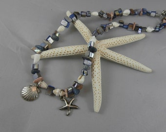 Blue and Cream Seashell Necklace with Silver Charms