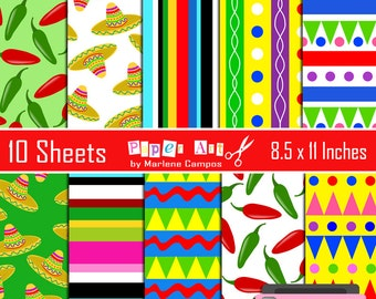 40% OFF - Mexican Fiesta digital papers, 5 de mayo, digital backgrounds, digital papers, scrapbooking - INSTANT DOWNLOAD