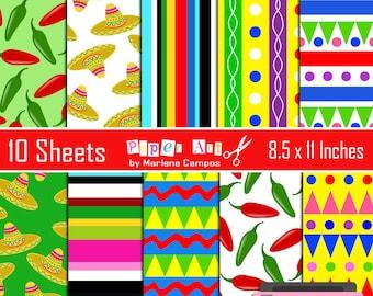 Mexican Fiesta digital papers, 5 de mayo, digital backgrounds, digital papers, scrapbooking - INSTANT DOWNLOAD