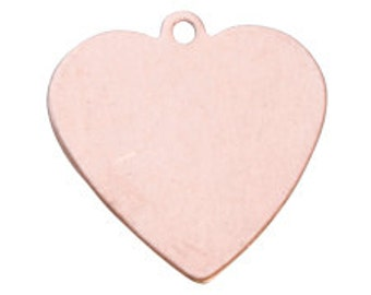 """SALE - 24g COPPER - 5/8"""" x 5/8"""" Heart Copper Blanks with Loop - 6 Blanks - Metal Blank for Hand Stamped Jewelry"""