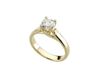 1 ct  Round  Forever Brilliant Moissanite Solid 14K Yellow Gold Diamond  Engagement Ring-ST232533