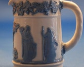 """Wedgwood """"QUEENSWARE"""" Embossed mini Pitcher Blue & White Made in England Etruria Barlaston"""
