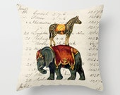 Throw Pillow Cover - Circus Elephant and Zebra - 16x16, 18x18, 20x20 - Pillow case Original Design Home Décor by Adidit
