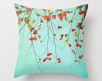 Pillow Cover, Autumn Leaves Pillow, Aqua Orange Pillow, Fall Tree Photo Pillow, Nature Throw Pillow, Decorative Pillow, 16x16 18x18 20x20