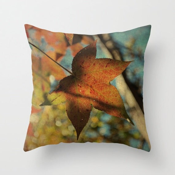 Pillow Cover, Autumn Tree Photo Pillow, Burnt Orange Teal Pillow, Fall Leaves Throw Pillow, Living room decor 16x16 18x18 20x20 Pillow cover