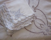 "Vintage Shabby Chic Cutwork Tablecloth and Napkins with Blue Embroidery 100"" x 64"""