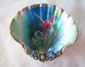 Freedom Of The Sea Mermaid Shell Jewelry Dish Ring Dish Trinket Dish