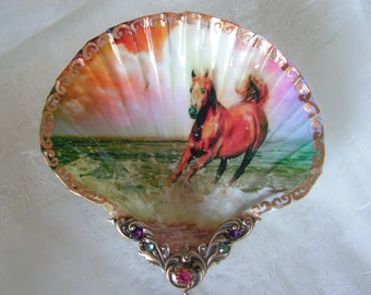 Horse On The Beach Meduim Shell Jewelry Dish