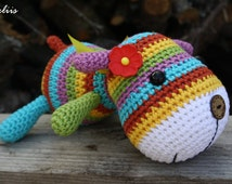 PATTERN - Stripy sock puppy - crochet pattern, amigurumi pattern, pdf