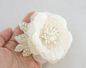 Lace Wedding Headpiece, Bridal Headpiece, Ivory Flower Wedding Hair Piece, Lace Bridal Hair Piece, Swarovski Crystals Bridal Hairpiece SILK