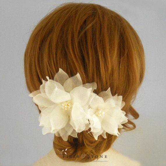 Pure Silk Bridal Headpiece, Freshwater Pearl Bridal Hair Flowers, Gold Bridal Head Piece,Wedding Hair Flowers, Bridal Hair Accessory